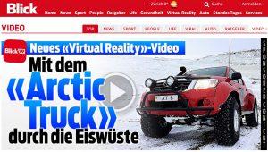 """So präsentiert Blick.ch das Video über die """"Arctic Trucks""""."""