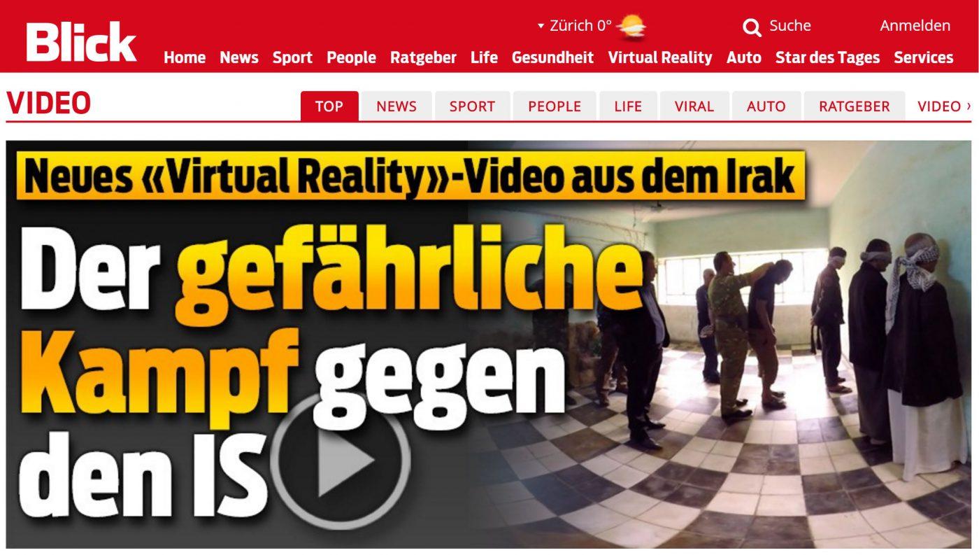 Aus der 360°-Szene mit der Festnahme der IS-Kämpfer wird später das Titelbild bei BlickVR.