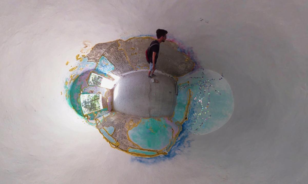 """Kunst im Bunker. Hier dargestellt im """"Little-Planet""""-Modus"""