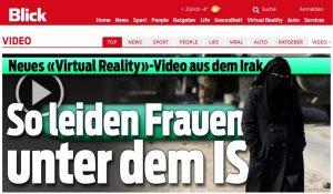Screenshot von der Blick.ch-Homepage. So präsentiert der Schweizer Medienkonzern Ringier das zweite 360°-Video von IntoVR aus Irak.