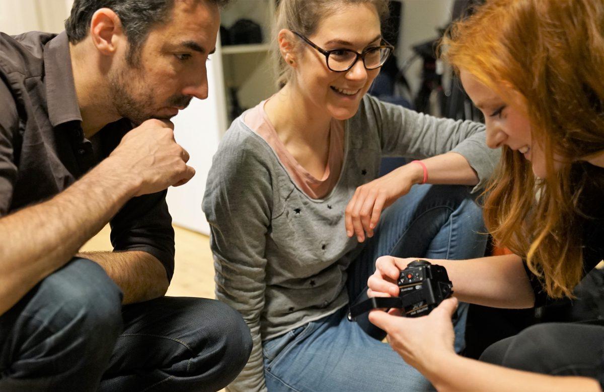 (Martin Jabs und Ariane Böhm beim Workshop mit IntoVR-Journalistin Christiane Wittenbecher)