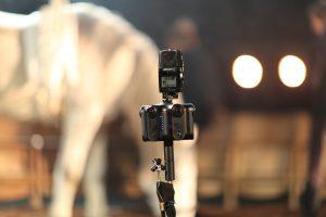 "Kandao Obsidian Kamera mit Pferd beim Dreh für ""Sequence of a Horse in Motion"" (Foto: Martin Heller, IntoVR.de)"