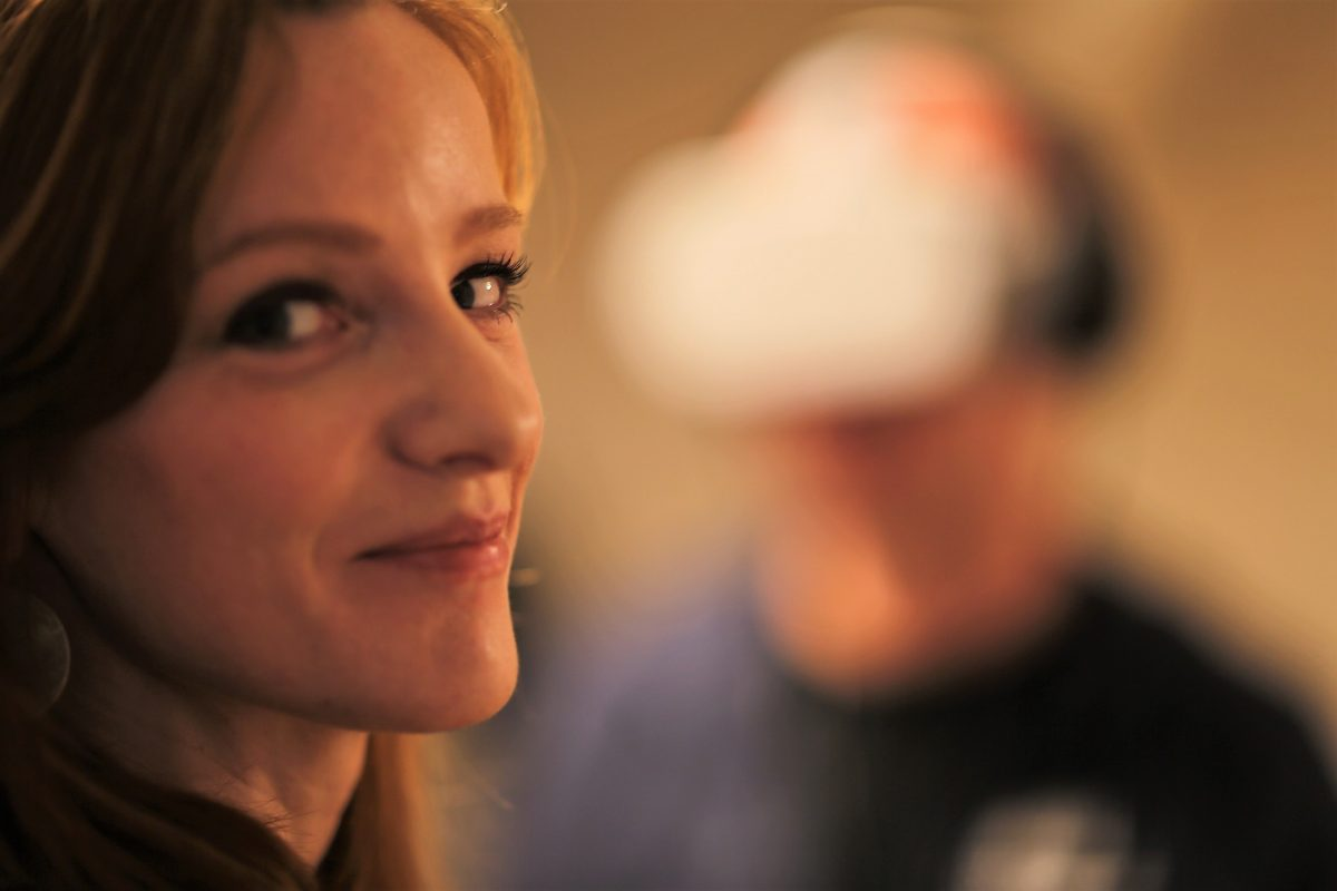 VR-Story: läuft! Christiane Wittenbecher beim Termin mit MDR-Podcaster Stephan Schulz. (Foto: Susanne Dickel, IntoVR)